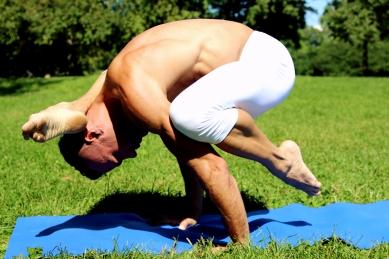 Blu Nathan Silks Journey - Yoga Foot Behind the Head Crow